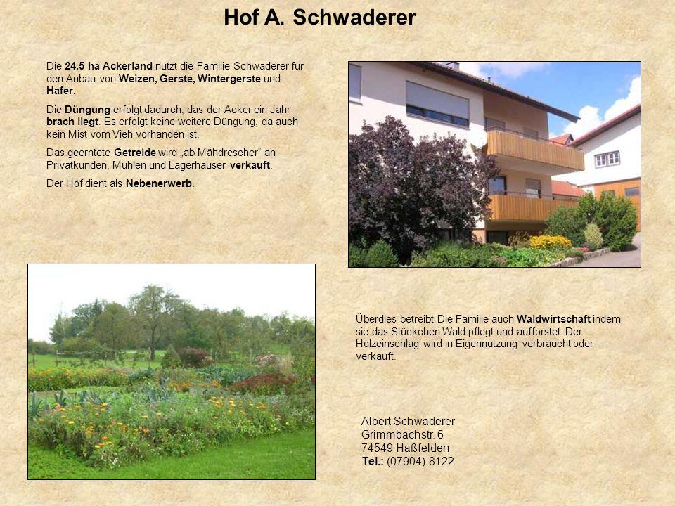 Hof A. Schwaderer Die 24,5 ha Ackerland nutzt die Familie Schwaderer für den Anbau von Weizen, Gerste, Wintergerste und Hafer. Die Düngung erfolgt dad