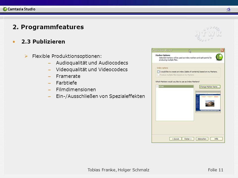 Camtasia Studio Tobias Franke, Holger Schmalz Folie 11 2. Programmfeatures 2.3 Publizieren Flexible Produktionsoptionen: – Audioqualität und Audiocode