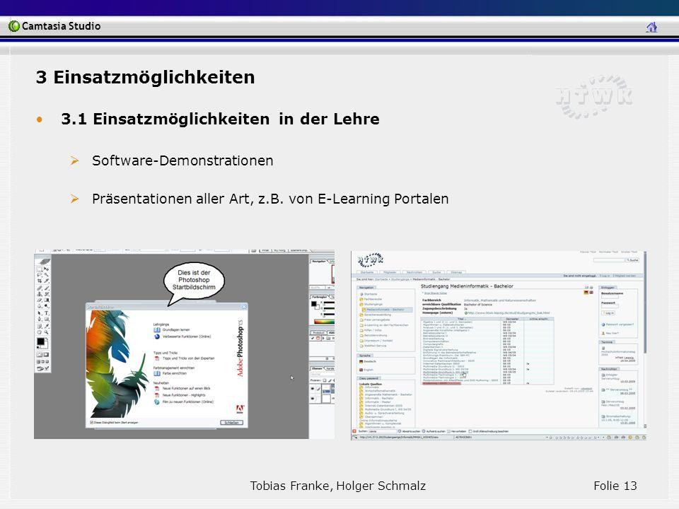 Camtasia Studio Tobias Franke, Holger Schmalz Folie 13 3 Einsatzmöglichkeiten 3.1 Einsatzmöglichkeiten in der Lehre Software-Demonstrationen Präsentat