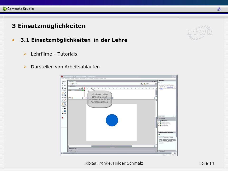 Camtasia Studio Tobias Franke, Holger Schmalz Folie 14 3 Einsatzmöglichkeiten 3.1 Einsatzmöglichkeiten in der Lehre Lehrfilme – Tutorials Darstellen v