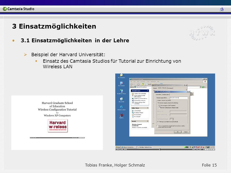 Camtasia Studio Tobias Franke, Holger Schmalz Folie 15 3 Einsatzmöglichkeiten 3.1 Einsatzmöglichkeiten in der Lehre Beispiel der Harvard Universität: