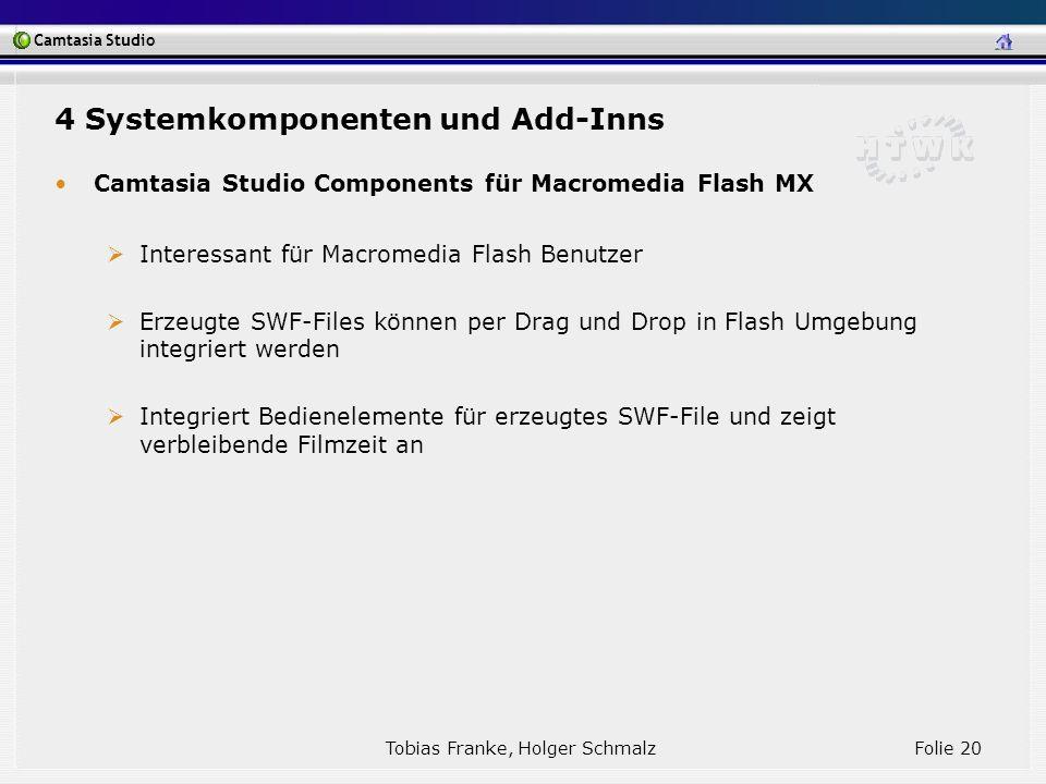 Camtasia Studio Tobias Franke, Holger Schmalz Folie 20 Camtasia Studio Components für Macromedia Flash MX Interessant für Macromedia Flash Benutzer Er
