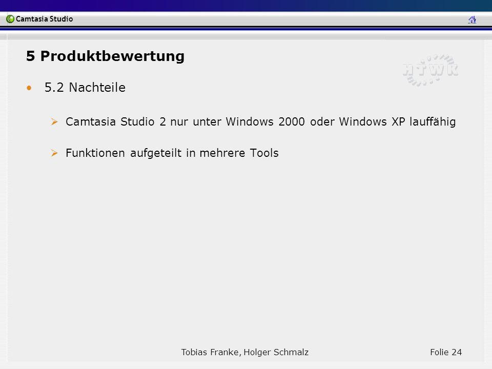 Camtasia Studio Tobias Franke, Holger Schmalz Folie 24 5.2 Nachteile Camtasia Studio 2 nur unter Windows 2000 oder Windows XP lauffähig Funktionen auf