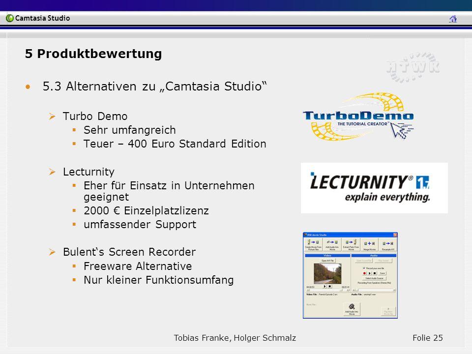 Camtasia Studio Tobias Franke, Holger Schmalz Folie 25 5.3 Alternativen zu Camtasia Studio Turbo Demo Sehr umfangreich Teuer – 400 Euro Standard Editi