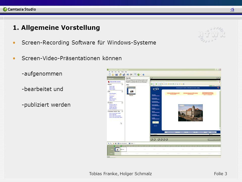 Camtasia Studio Tobias Franke, Holger Schmalz Folie 3 1. Allgemeine Vorstellung Screen-Recording Software für Windows-Systeme Screen-Video-Präsentatio