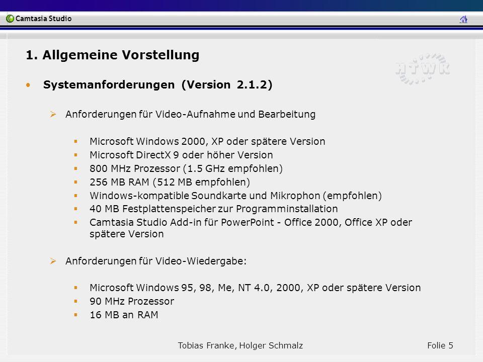 Camtasia Studio Tobias Franke, Holger Schmalz Folie 5 1. Allgemeine Vorstellung Systemanforderungen (Version 2.1.2) Anforderungen für Video-Aufnahme u