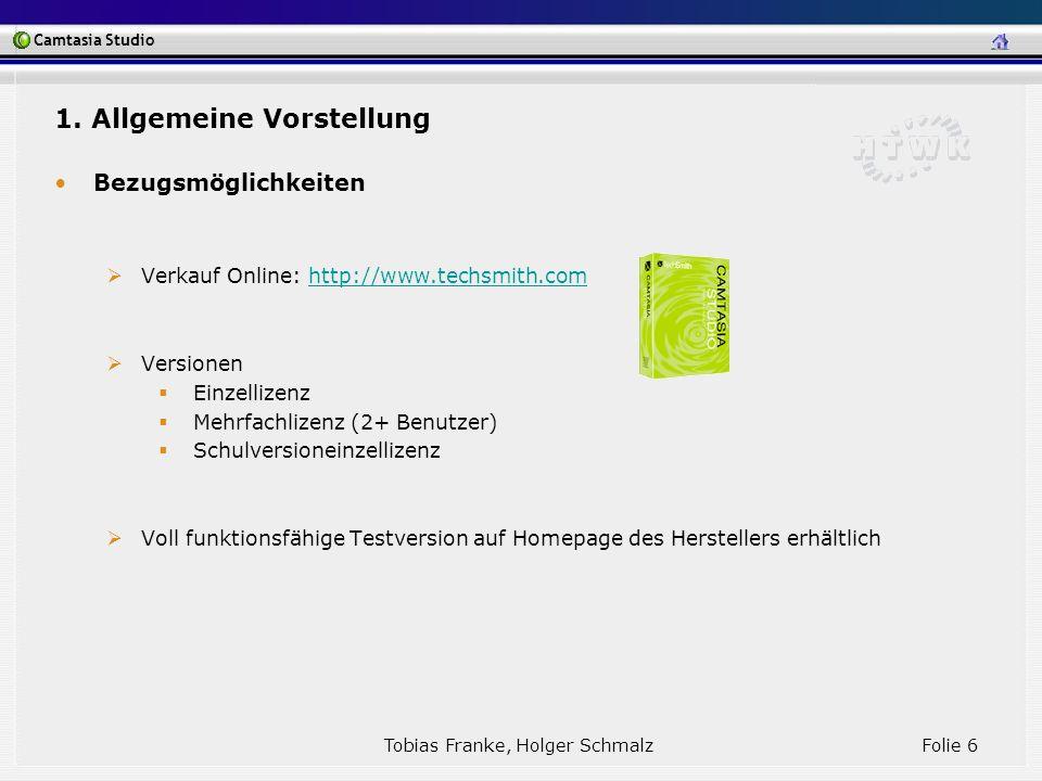 Camtasia Studio Tobias Franke, Holger Schmalz Folie 17 3.2 Sonstige Einsatzmöglichkeiten Softwareentwicklung: Aufzeichnen von Fehlern in Testphase -> Weiterleiten an Programmierer Aufzeichnung des Anwenderverhaltens freiwilliger Testpersonen Erstellen von Vorträgen oder Konferenzen -> LiveStreaming wird unterstützt Aufzeichnung von Web-Cam oder Live-Konferenzen zur Archivierung 3 Einsatzmöglichkeiten