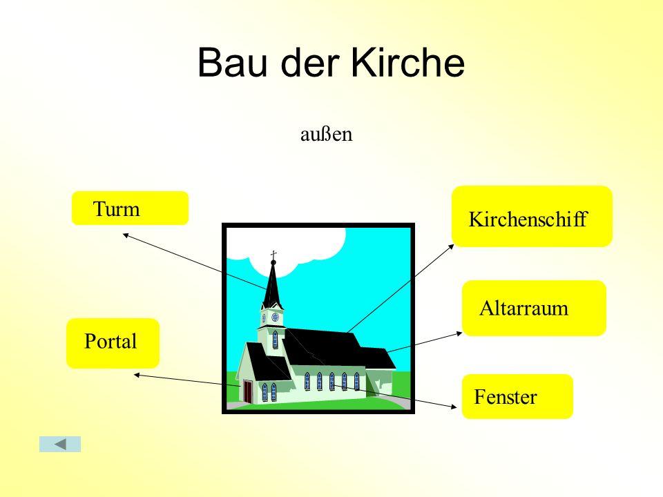 Bau der Kirche Turm Portal Kirchenschiff Altarraum Fenster außen