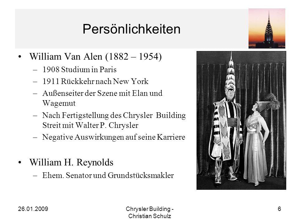 26.01.2009Chrysler Building - Christian Schulz 7 Planung des Chrysler Buildings 1928:Verkauf von Reynolds an Chrysler –Unschlüssige Nutzung des Gebäudes –Verkauf inkl.