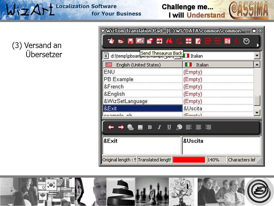 (3) Versand an Übersetzer
