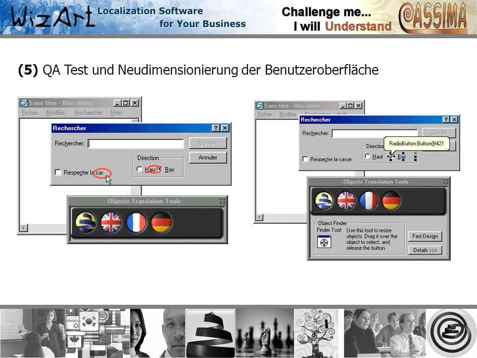 (5) QA Test und Neudimensionierung der Benutzeroberfläche