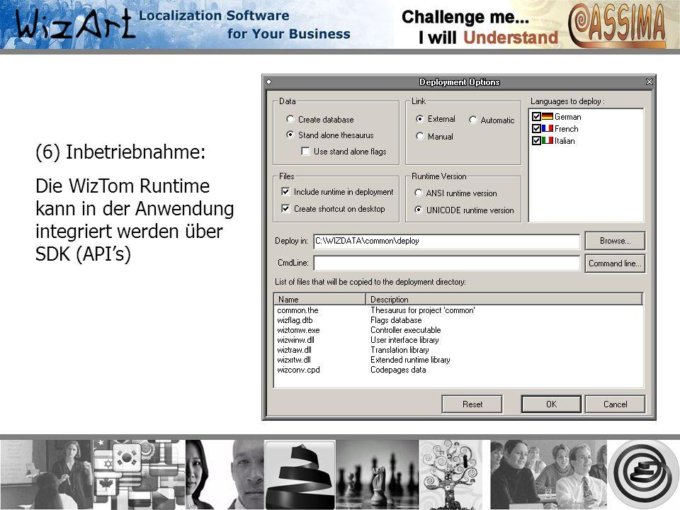 (6) Inbetriebnahme: Die WizTom Runtime kann in der Anwendung integriert werden über SDK (APIs)