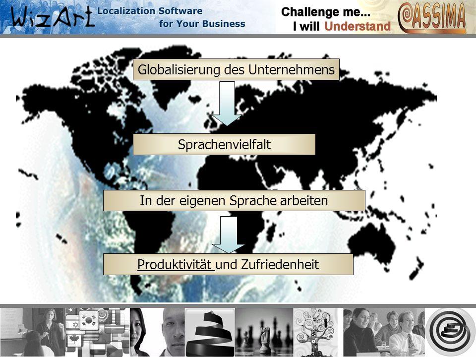 Globalisierung des Unternehmens Sprachenvielfalt In der eigenen Sprache arbeiten Produktivität und Zufriedenheit