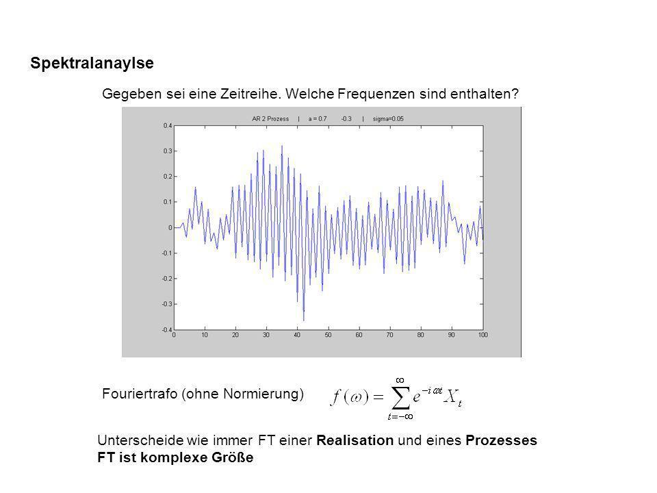 Spektralanaylse Gegeben sei eine Zeitreihe. Welche Frequenzen sind enthalten? Fouriertrafo (ohne Normierung) Unterscheide wie immer FT einer Realisati