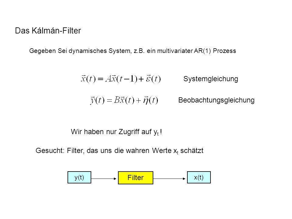 Das Kálmán-Filter Gegeben Sei dynamisches System, z.B. ein multivariater AR(1) Prozess Systemgleichung Beobachtungsgleichung Wir haben nur Zugriff auf