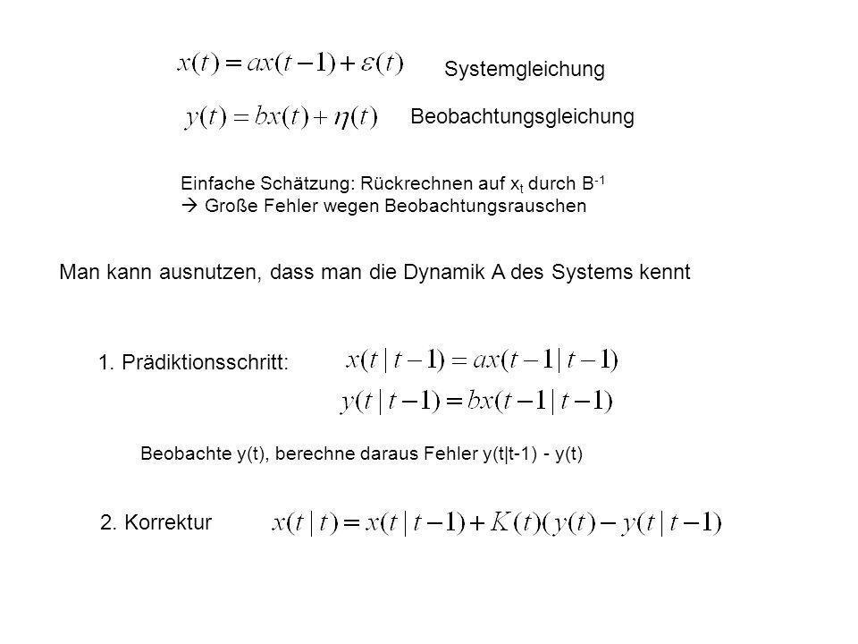 Systemgleichung Beobachtungsgleichung Einfache Schätzung: Rückrechnen auf x t durch B -1 Große Fehler wegen Beobachtungsrauschen Man kann ausnutzen, d
