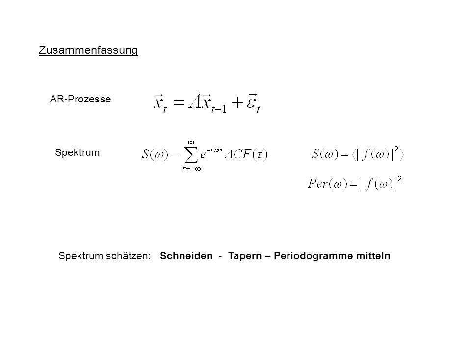 Zusammenfassung AR-Prozesse Spektrum Spektrum schätzen: Schneiden - Tapern – Periodogramme mitteln