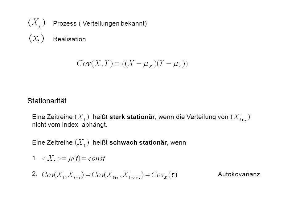 Prozess ( Verteilungen bekannt) Realisation Stationarität Eine Zeitreihe heißt stark stationär, wenn die Verteilung von nicht vom Index abhängt. Eine