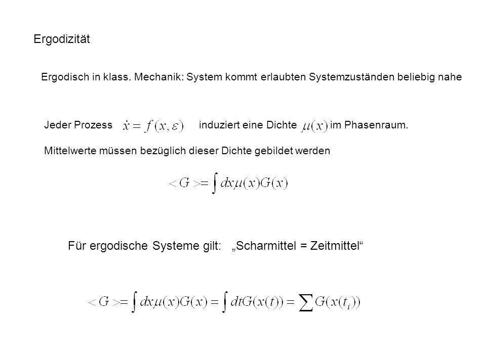 Ergodizität Ergodisch in klass. Mechanik: System kommt erlaubten Systemzuständen beliebig nahe Für ergodische Systeme gilt: Scharmittel = Zeitmittel J