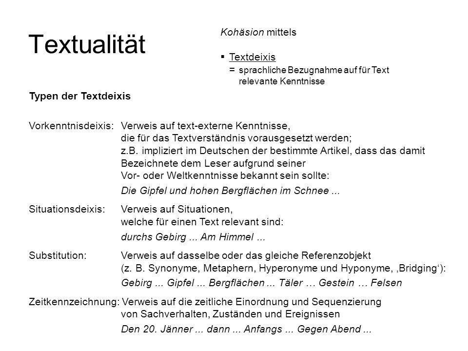 Textualität Vorkenntnisdeixis:Verweis auf text-externe Kenntnisse, die für das Textverständnis vorausgesetzt werden; z.B. impliziert im Deutschen der
