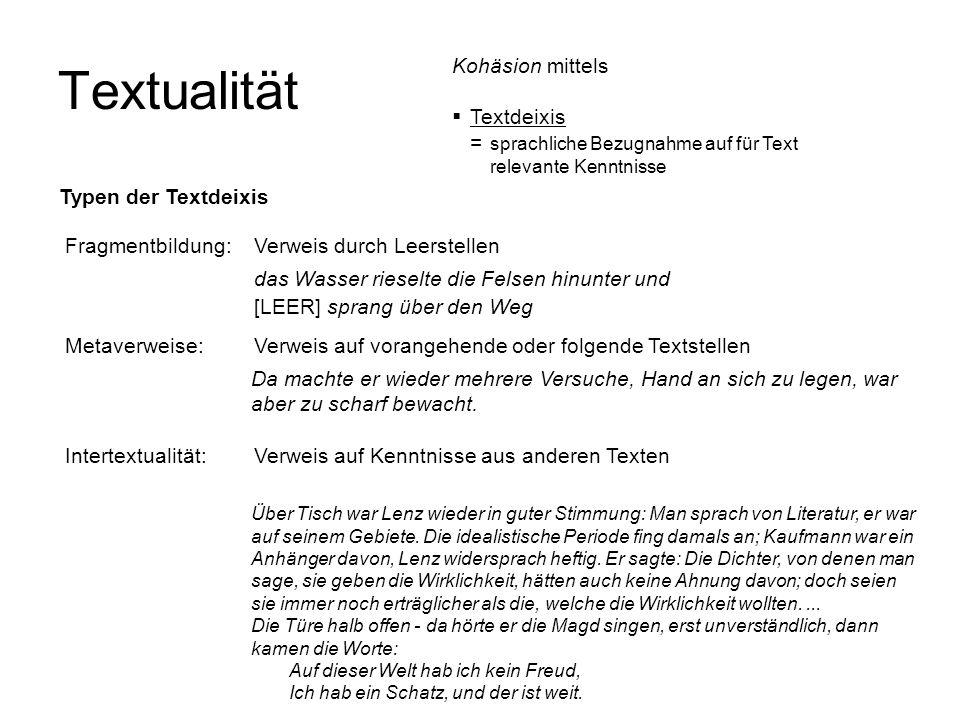 Textualität Fragmentbildung: Verweis durch Leerstellen das Wasser rieselte die Felsen hinunter und [LEER] sprang über den Weg Metaverweise: Verweis au