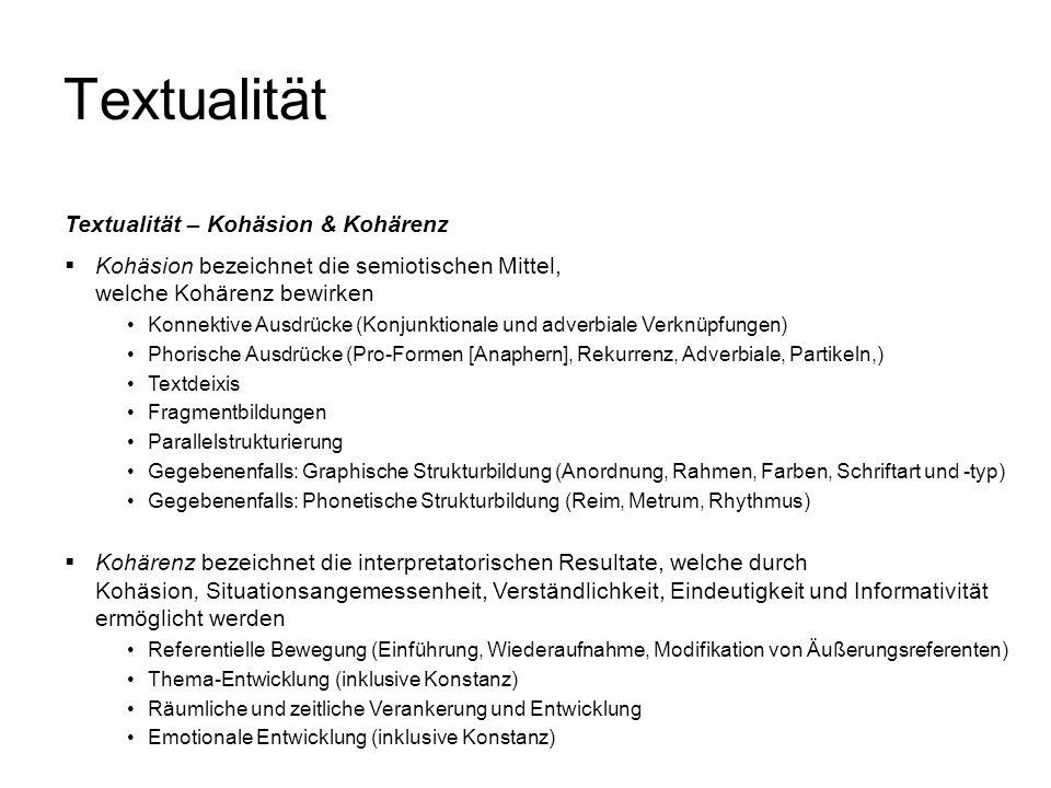 Textualität Textualität – Kohäsion & Kohärenz Kohäsion bezeichnet die semiotischen Mittel, welche Kohärenz bewirken Konnektive Ausdrücke (Konjunktiona