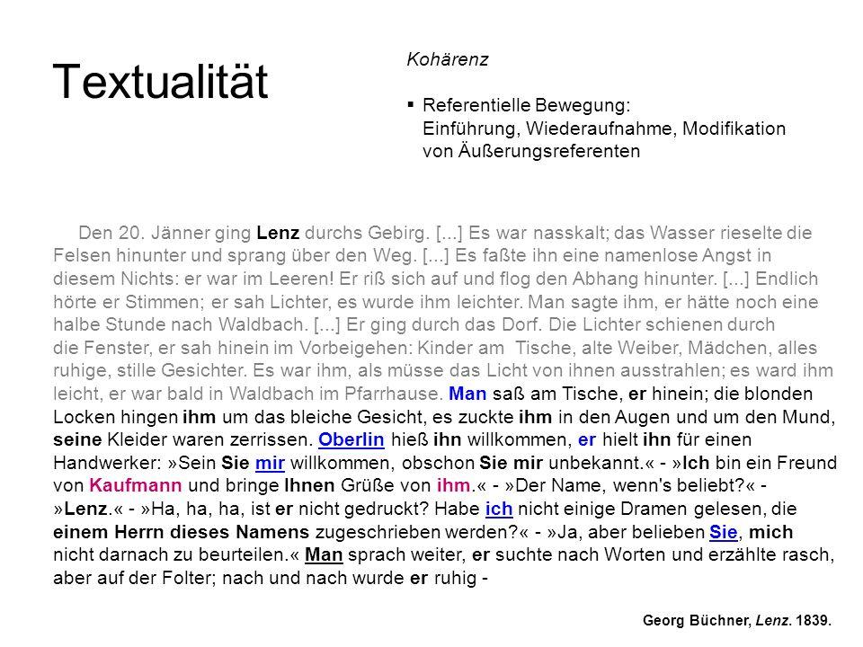 Textualität Georg Büchner, Lenz. 1839. Den 20. Jänner ging Lenz durchs Gebirg. [...] Es war nasskalt; das Wasser rieselte die Felsen hinunter und spra