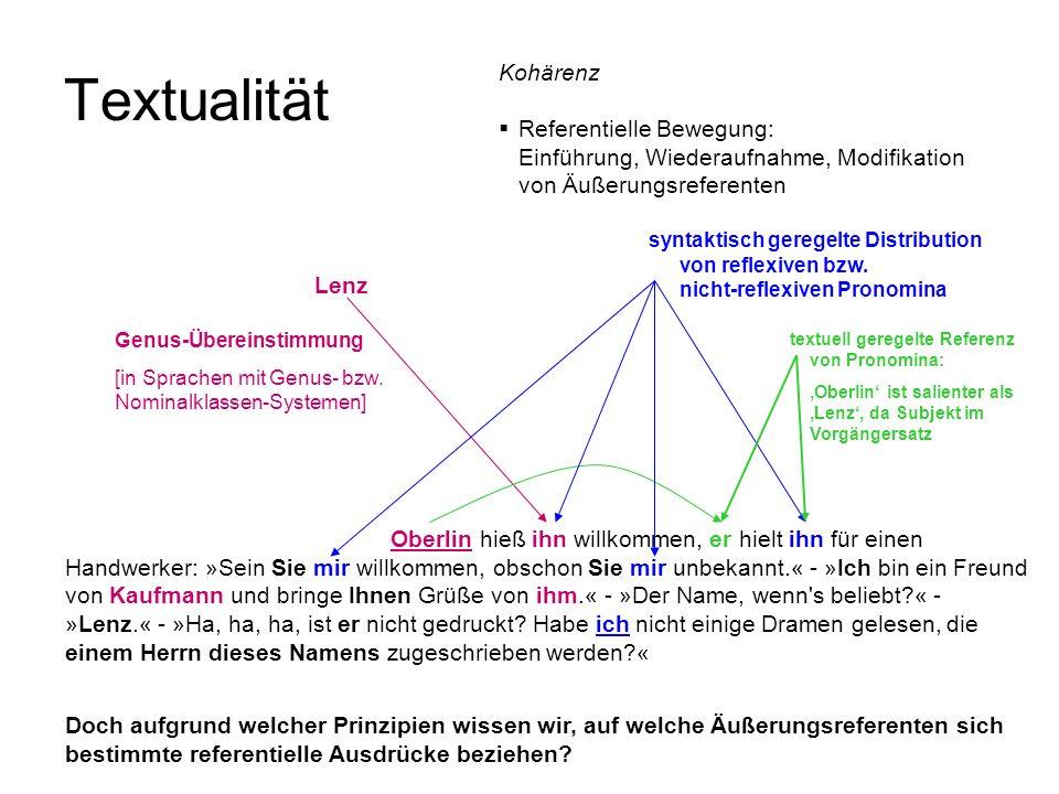 Doch aufgrund welcher Prinzipien wissen wir, auf welche Äußerungsreferenten sich bestimmte referentielle Ausdrücke beziehen? Textualität Kohärenz Refe