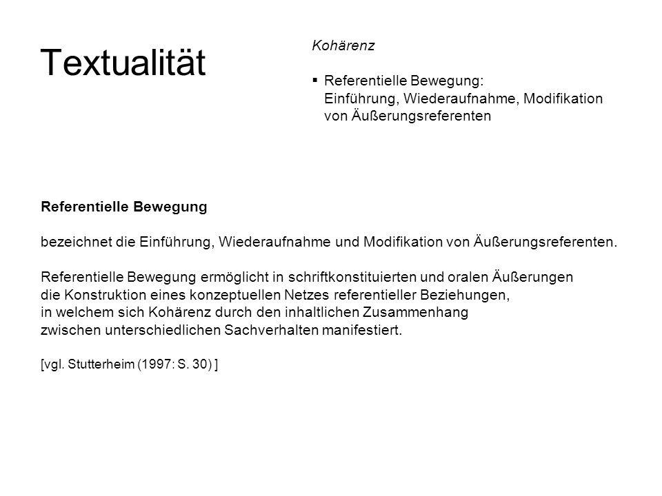 Textualität Referentielle Bewegung bezeichnet die Einführung, Wiederaufnahme und Modifikation von Äußerungsreferenten. Referentielle Bewegung ermöglic