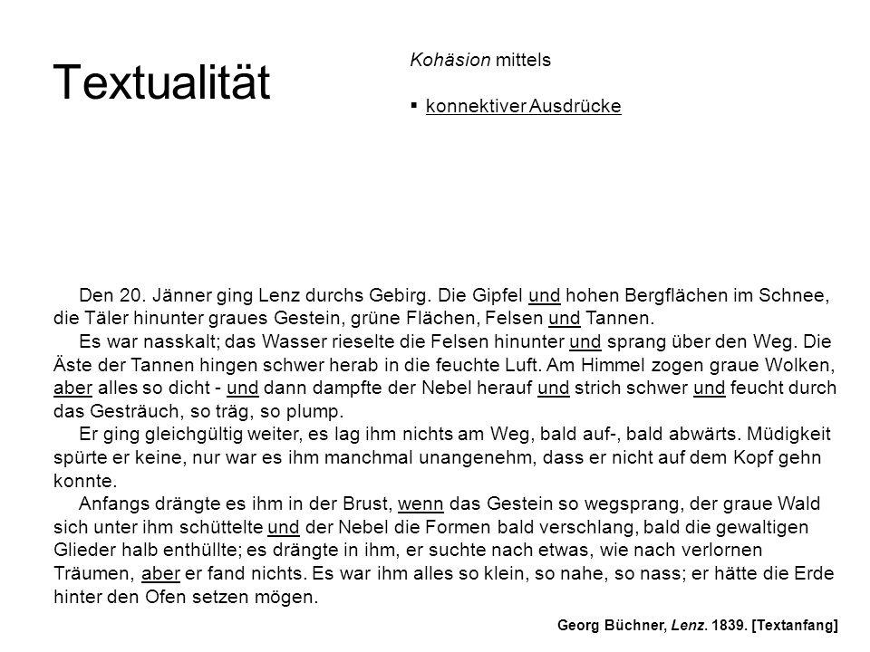 Textualität Georg Büchner, Lenz. 1839. [Textanfang] Den 20. Jänner ging Lenz durchs Gebirg. Die Gipfel und hohen Bergflächen im Schnee, die Täler hinu
