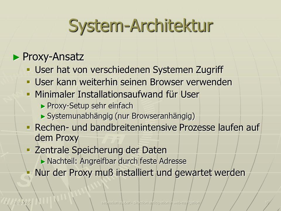 12.08.2005sebastian stober - direction anticipation in web-navigation10 System-Architektur Proxy-Ansatz Proxy-Ansatz User hat von verschiedenen System