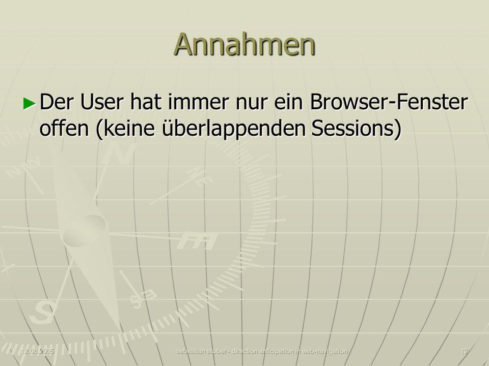 12.08.2005sebastian stober - direction anticipation in web-navigation12 Annahmen Der User hat immer nur ein Browser-Fenster offen (keine überlappenden