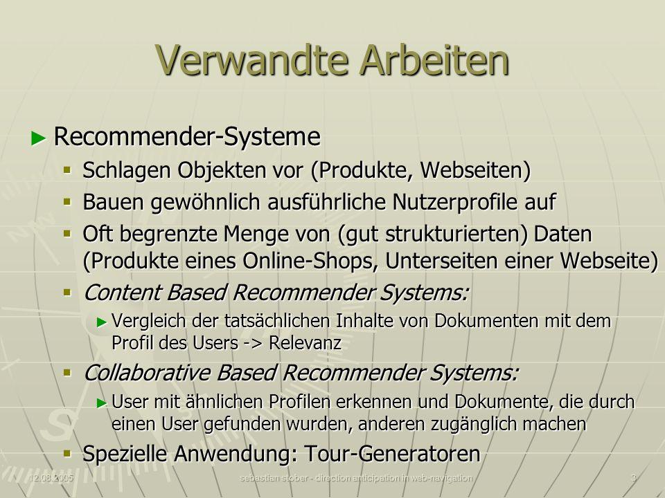 12.08.2005sebastian stober - direction anticipation in web-navigation3 Verwandte Arbeiten Recommender-Systeme Recommender-Systeme Schlagen Objekten vo