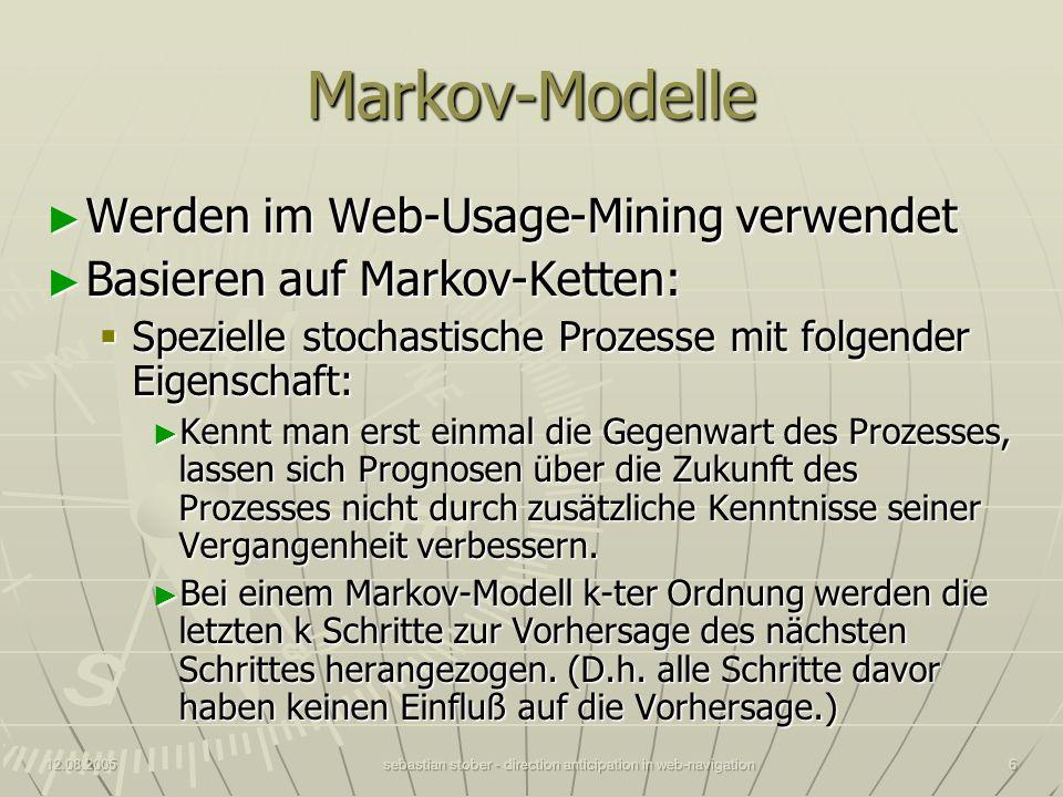 12.08.2005sebastian stober - direction anticipation in web-navigation6 Markov-Modelle Werden im Web-Usage-Mining verwendet Werden im Web-Usage-Mining