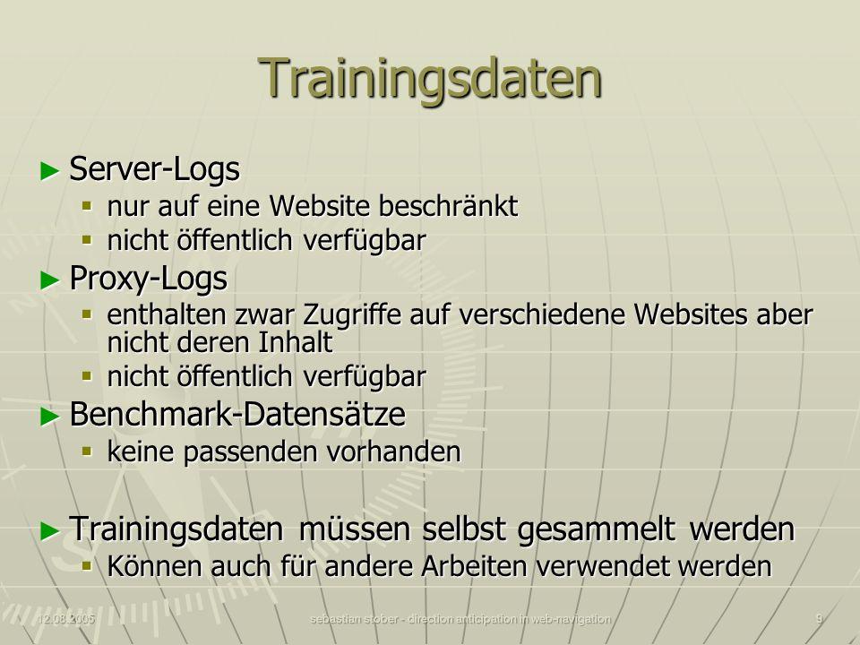 12.08.2005sebastian stober - direction anticipation in web-navigation9 Trainingsdaten Server-Logs Server-Logs nur auf eine Website beschränkt nur auf