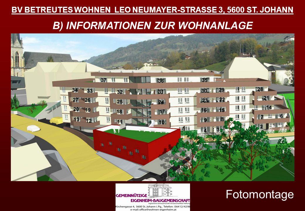 BV BETREUTES WOHNEN LEO NEUMAYER-STRASSE 3, 5600 ST. JOHANN B) INFORMATIONEN ZUR WOHNANLAGE Fotomontage