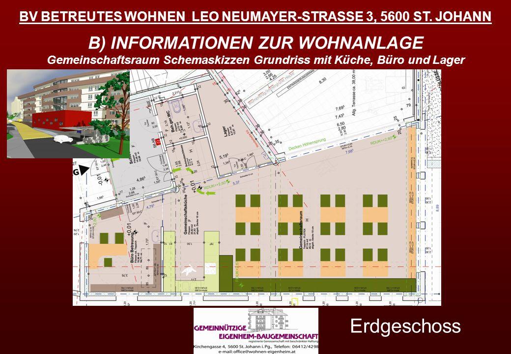 BV BETREUTES WOHNEN LEO NEUMAYER-STRASSE 3, 5600 ST. JOHANN Erdgeschoss B) INFORMATIONEN ZUR WOHNANLAGE Gemeinschaftsraum Schemaskizzen Grundriss mit