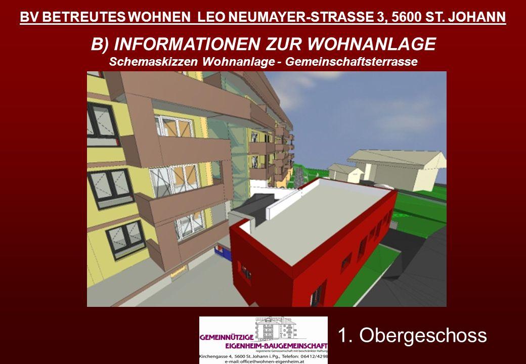 BV BETREUTES WOHNEN LEO NEUMAYER-STRASSE 3, 5600 ST. JOHANN B) INFORMATIONEN ZUR WOHNANLAGE Schemaskizzen Wohnanlage - Gemeinschaftsterrasse 1. Oberge