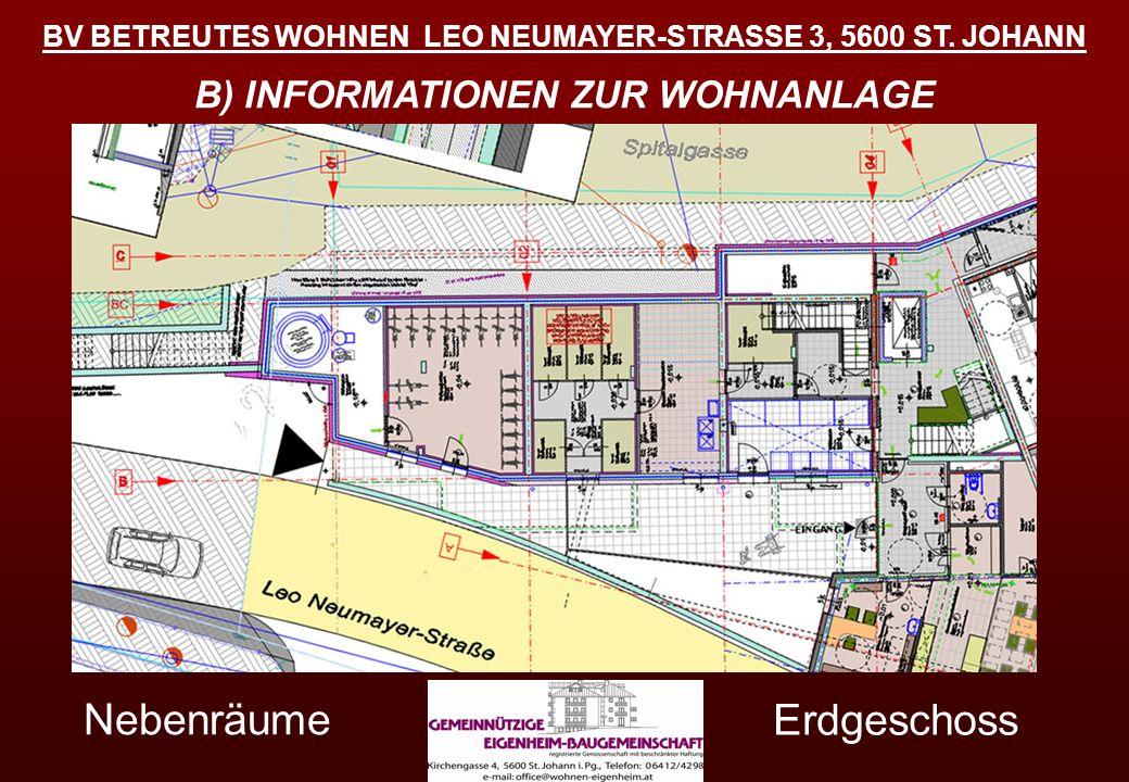 BV BETREUTES WOHNEN LEO NEUMAYER-STRASSE 3, 5600 ST. JOHANN B) INFORMATIONEN ZUR WOHNANLAGE Schemaskizzen Wohnanlage Erdgeschoss Nebenräume