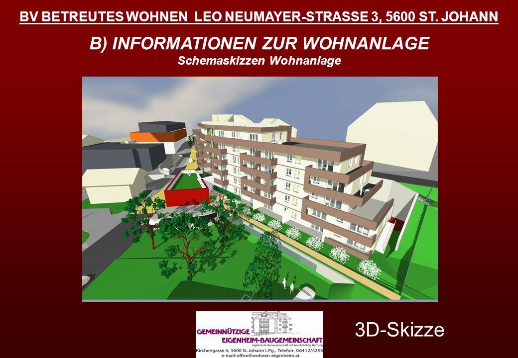 BV BETREUTES WOHNEN LEO NEUMAYER-STRASSE 3, 5600 ST. JOHANN B) INFORMATIONEN ZUR WOHNANLAGE Schemaskizzen Wohnanlage 3D-Skizze