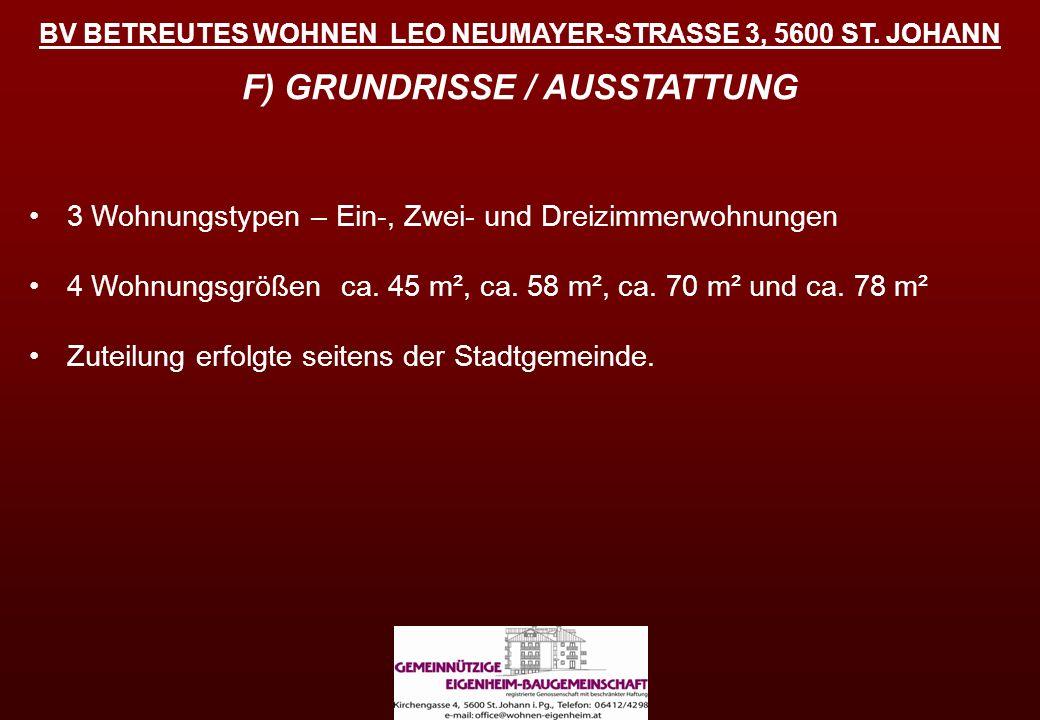 BV BETREUTES WOHNEN LEO NEUMAYER-STRASSE 3, 5600 ST. JOHANN F) GRUNDRISSE / AUSSTATTUNG 3 Wohnungstypen – Ein-, Zwei- und Dreizimmerwohnungen 4 Wohnun