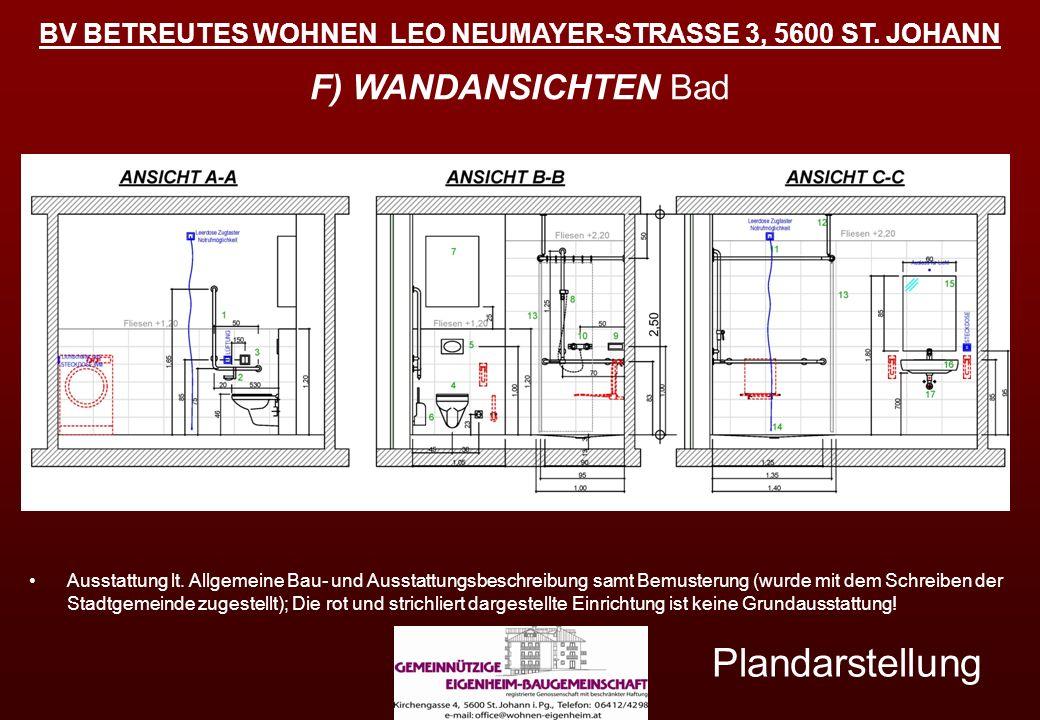 BV BETREUTES WOHNEN LEO NEUMAYER-STRASSE 3, 5600 ST. JOHANN Plandarstellung F) WANDANSICHTEN Bad Ausstattung lt. Allgemeine Bau- und Ausstattungsbesch