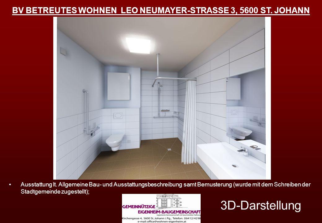 BV BETREUTES WOHNEN LEO NEUMAYER-STRASSE 3, 5600 ST. JOHANN 3D-Darstellung Ausstattung lt. Allgemeine Bau- und Ausstattungsbeschreibung samt Bemusteru