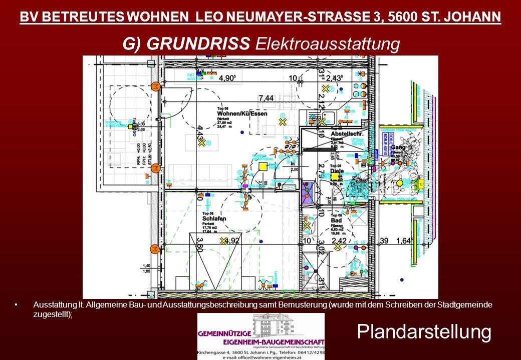 BV BETREUTES WOHNEN LEO NEUMAYER-STRASSE 3, 5600 ST. JOHANN Plandarstellung G) GRUNDRISS Elektroausstattung Ausstattung lt. Allgemeine Bau- und Aussta