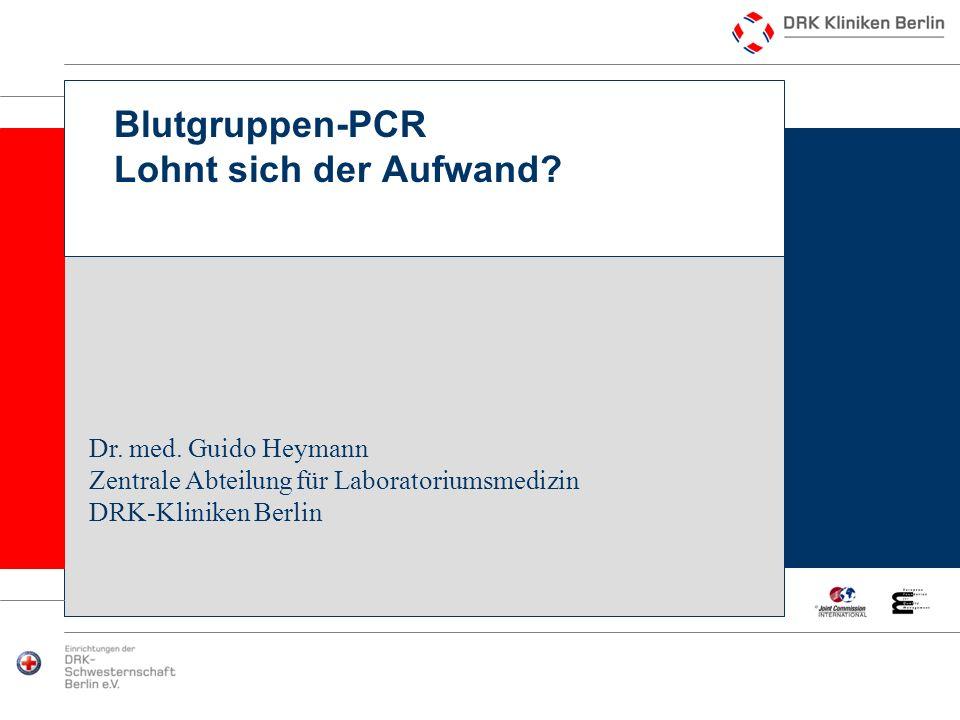 HeymannBlutgruppen-PCR Lohnt sich der Aufwand?12 Indikationen wissenschaftliche Fragestellungen Zur Ergänzung von nicht eindeutigen serologischen Ergebnissen Wenn keine serologischen Untersuchungen möglich sind: unsichere Antigenbestimmung bei Vortransfusion, Polyagglutinationsphänomen oder z.B.