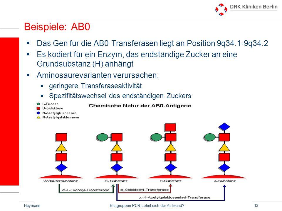 HeymannBlutgruppen-PCR Lohnt sich der Aufwand?13 Beispiele: AB0 Das Gen für die AB0-Transferasen liegt an Position 9q34.1-9q34.2 Es kodiert für ein Enzym, das endständige Zucker an eine Grundsubstanz (H) anhängt Aminosäurevarianten verursachen: geringere Transferaseaktivität Spezifitätswechsel des endständigen Zuckers