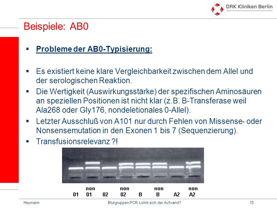HeymannBlutgruppen-PCR Lohnt sich der Aufwand?15 Beispiele: AB0 Probleme der AB0-Typisierung: Es existiert keine klare Vergleichbarkeit zwischen dem Allel und der serologischen Reaktion.