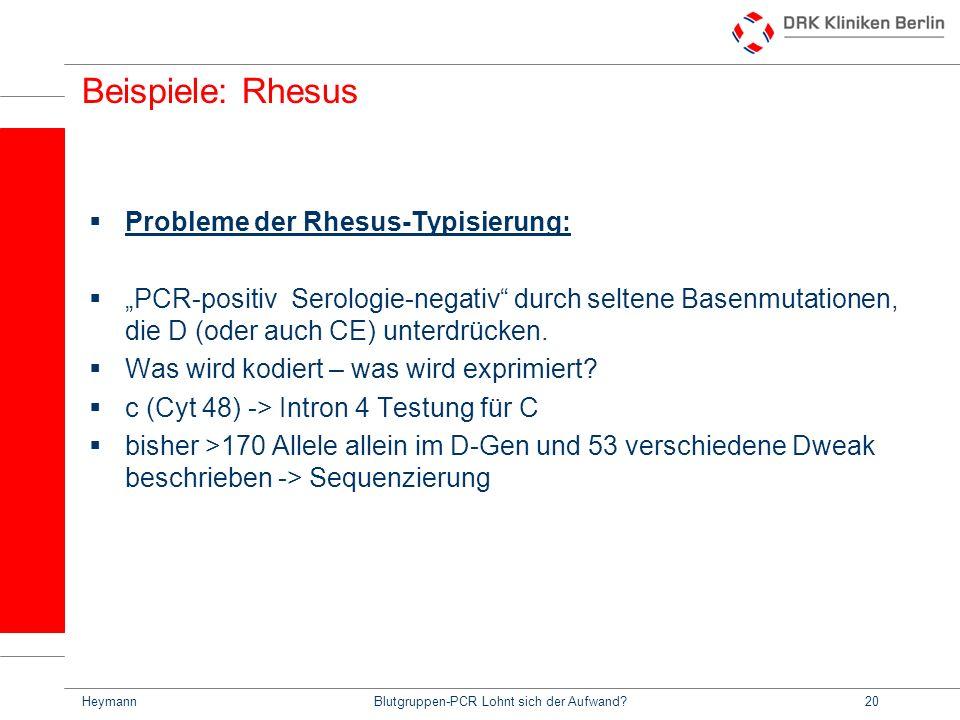 HeymannBlutgruppen-PCR Lohnt sich der Aufwand?20 Beispiele: Rhesus Probleme der Rhesus-Typisierung: PCR-positiv Serologie-negativ durch seltene Basenmutationen, die D (oder auch CE) unterdrücken.