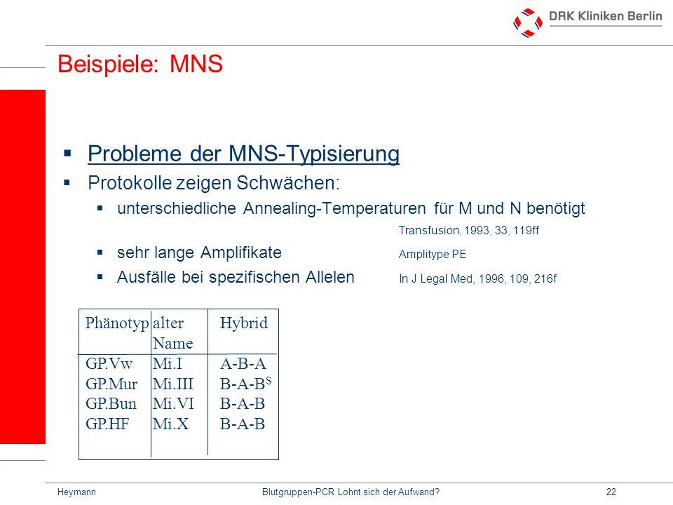 HeymannBlutgruppen-PCR Lohnt sich der Aufwand?22 Beispiele: MNS Probleme der MNS-Typisierung Protokolle zeigen Schwächen: unterschiedliche Annealing-Temperaturen für M und N benötigt Transfusion, 1993, 33, 119ff sehr lange Amplifikate Amplitype PE Ausfälle bei spezifischen Allelen In J Legal Med, 1996, 109, 216f PhänotypalterHybrid Name GP.VwMi.IA-B-A GP.MurMi.IIIB-A-B S GP.BunMi.VIB-A-B GP.HFMi.XB-A-B