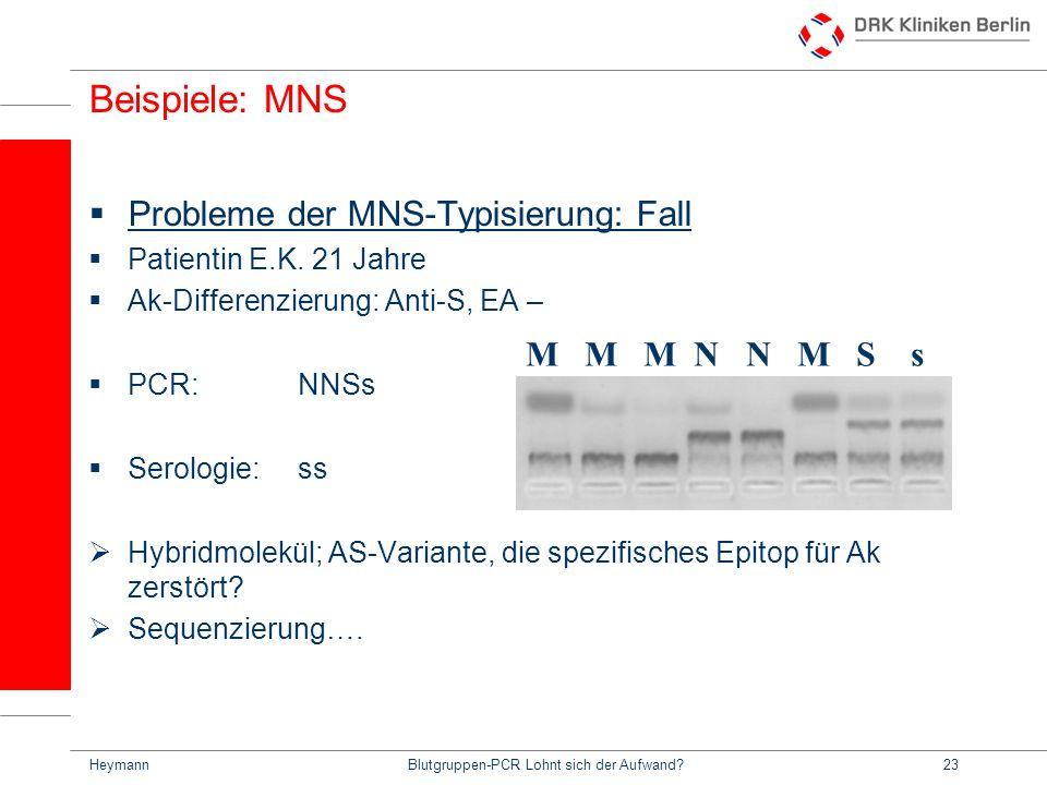 HeymannBlutgruppen-PCR Lohnt sich der Aufwand?23 Beispiele: MNS Probleme der MNS-Typisierung: Fall Patientin E.K.